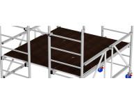 Большая (около 3,6 м²) платформа, где достаточно места для материалов, инструментов и людей. Состоит из трех помостов - двух с люками и друга без люка