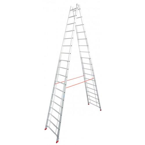 Двухсторонняя стремянка с перекладинами KRAUSE Stabilo 2x18 ступеней