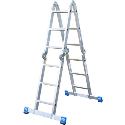 Шарнирная 4-секционная лестница KRAUSE Stabilo 4х3 ступени